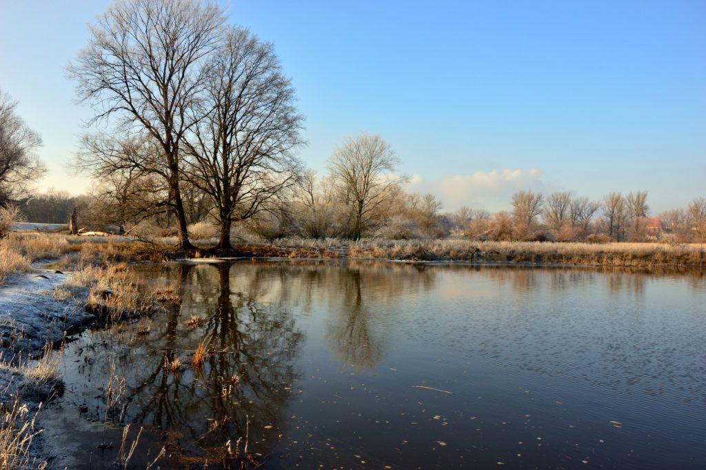 Fluss mit Schnee an den Rändern und Bäumen noch ohne Laub, das perfekte Bild, um die Schneeschmelze, die Fischezeit zu besschreiben.